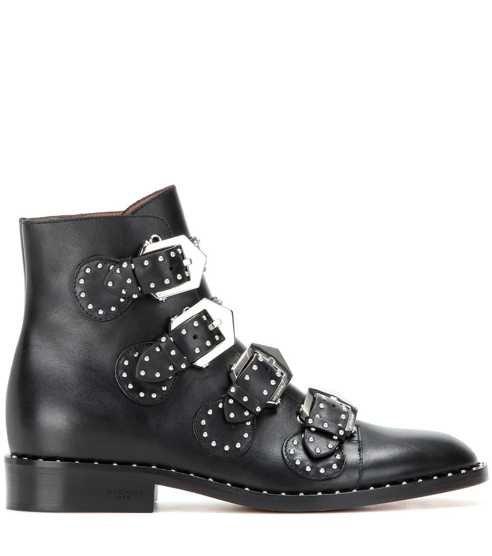 givenchy prue stud embellished leather flat ankle boots