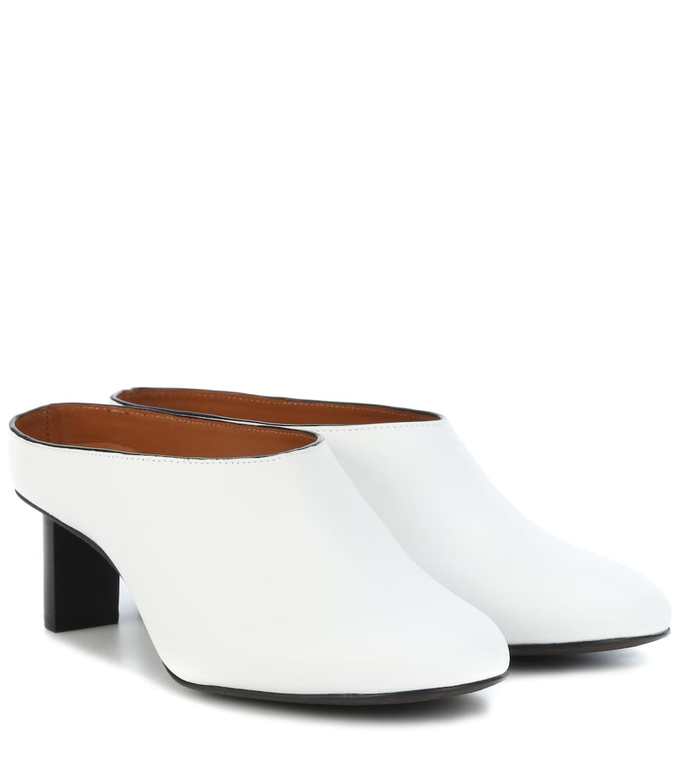 Joseph Round Toe Backless Mules In White