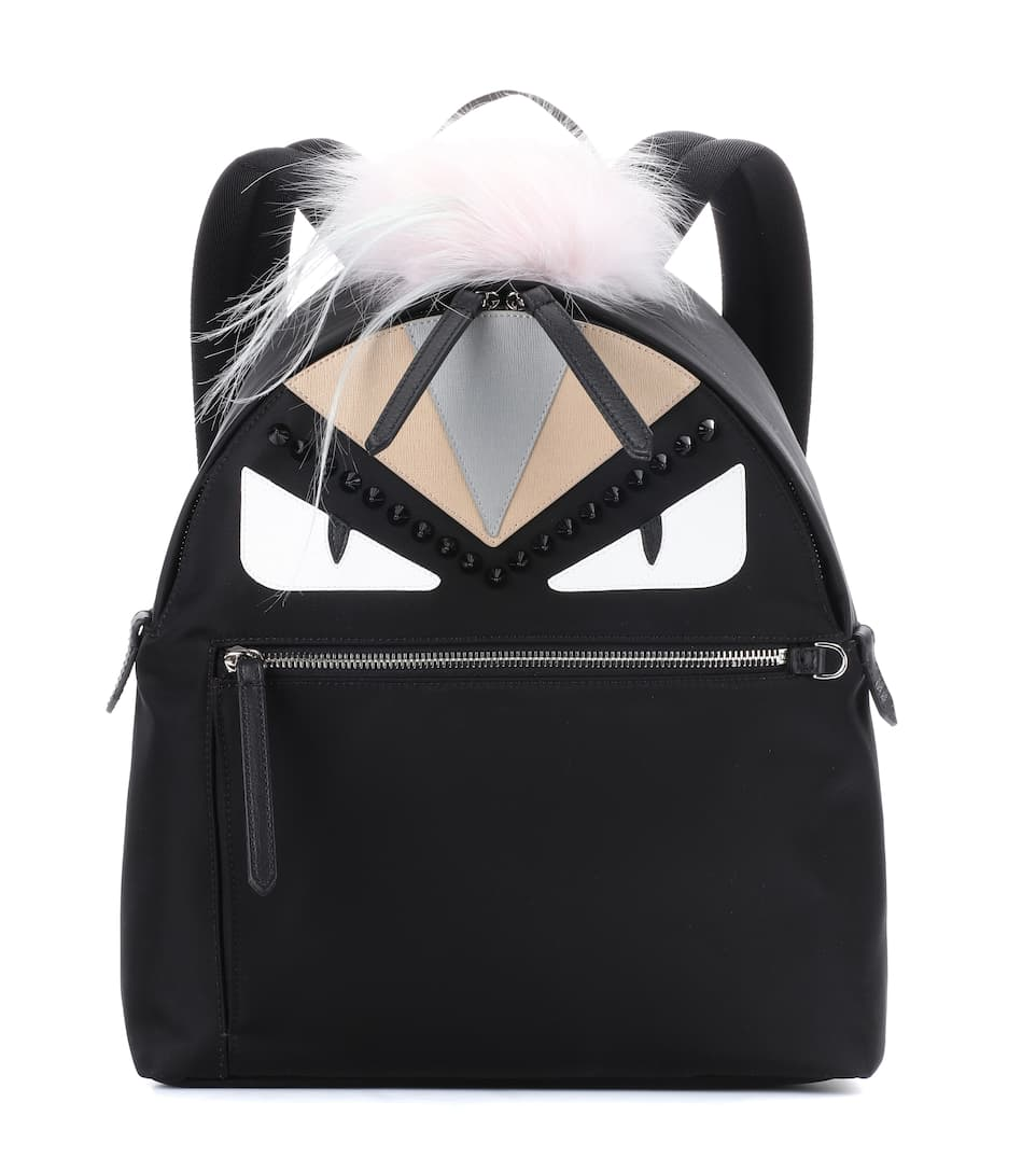 BLACK AND PEONIA BUGS EYES NYLON AND FUR BACKPACK