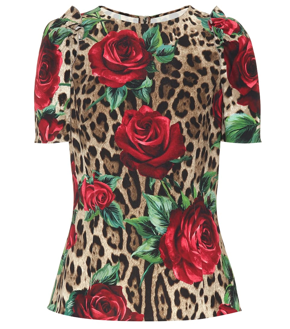 Leopard And Floral Printed Top by Dolce & Gabbana