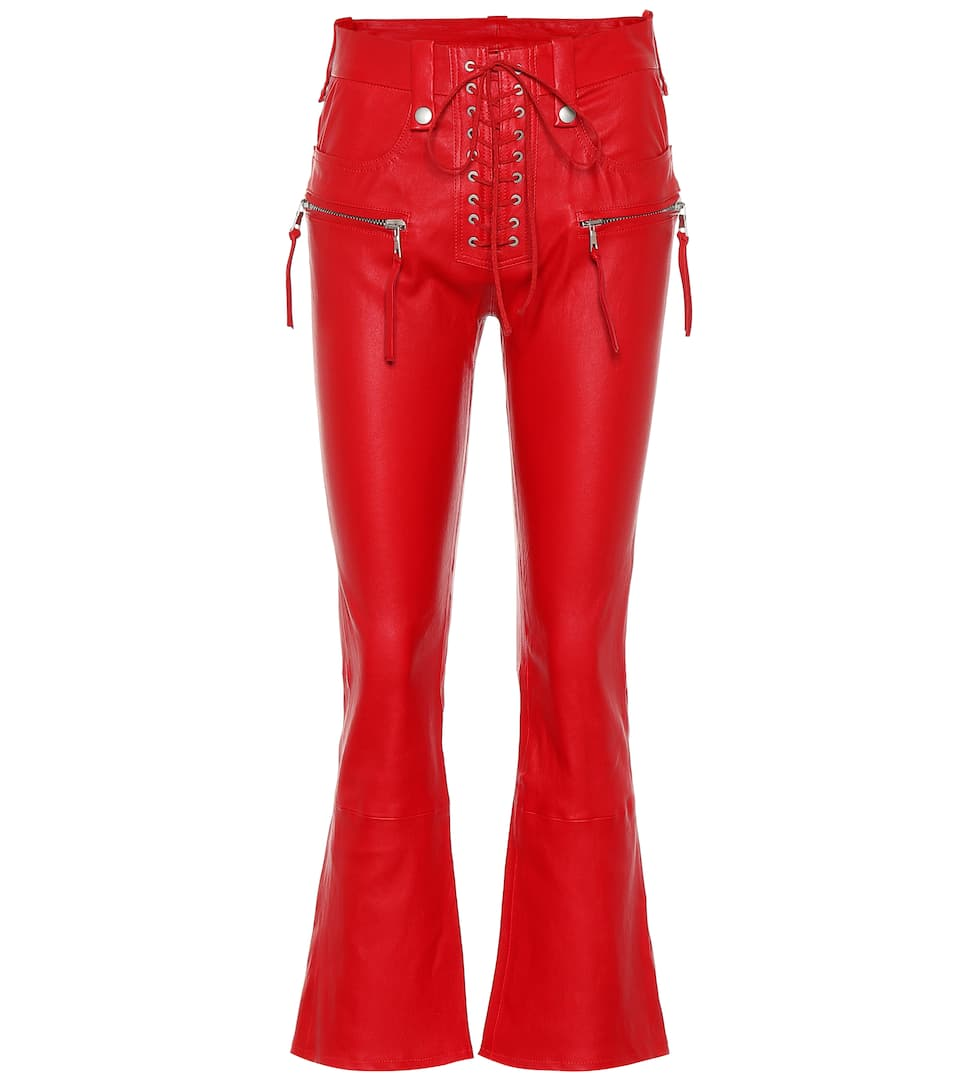 Ben Taverniti Unravel Project LEATHER LACE-UP FLARED PANTS