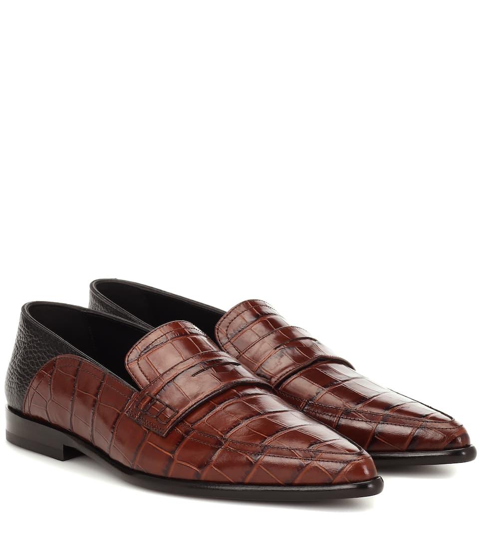 Loewe - Slip-on leather loafers | Mytheresa