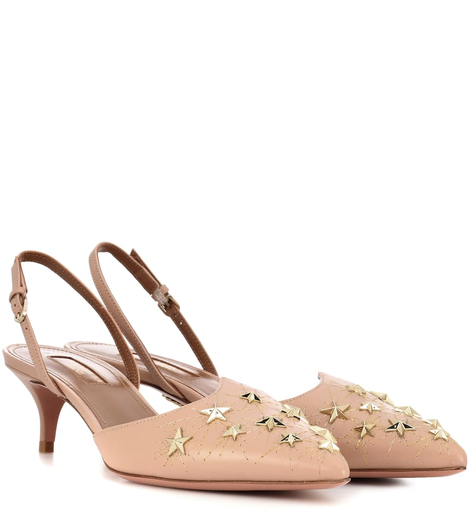 Aquazzura - Escarpins en cuir à ornements Cosmic Star 45 Officiel Pas Cher 71CkV