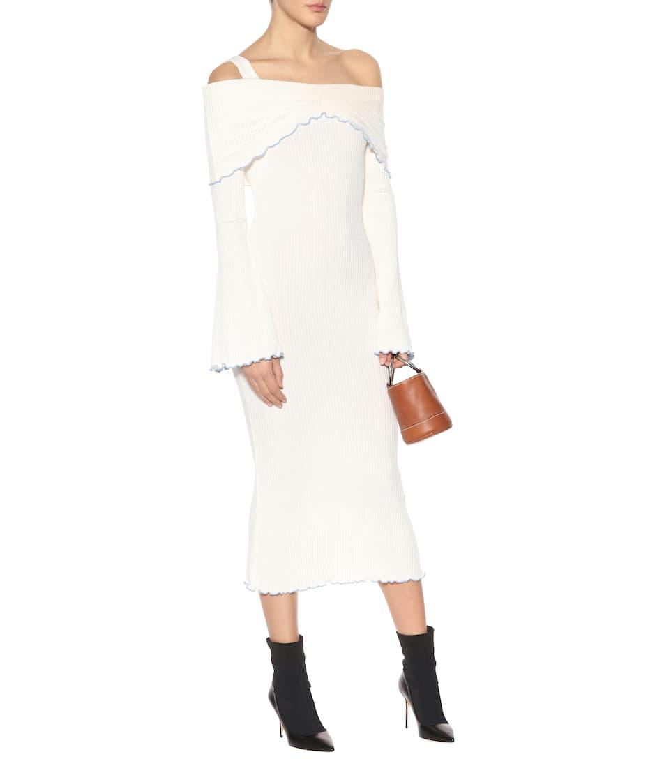 Ellery Geripptes Off-Shoulder-Kleid Dolly