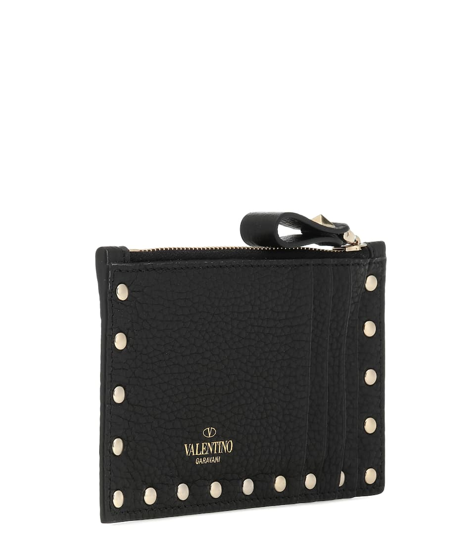 4dbb2a46bec60 Valentino Garavani Rockstud Leather Card Holder | Mytheresa