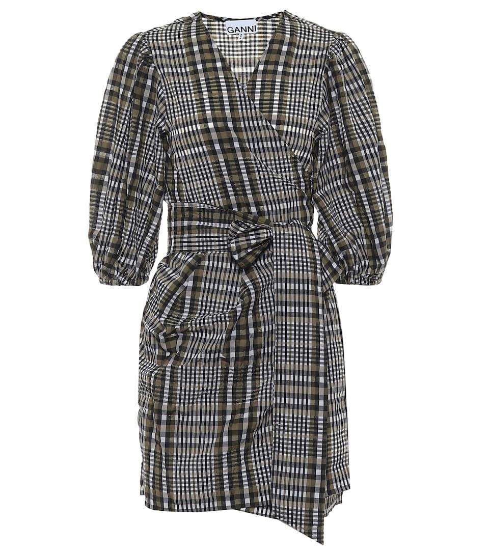 Checked Seersucker Wrap Dress Ganni Mytheresa