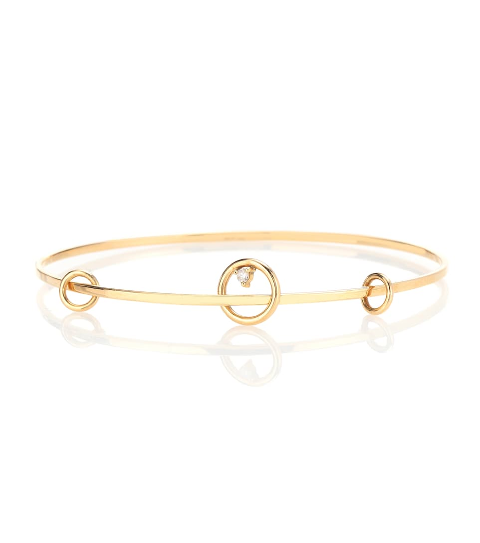 Wasson 14kt gold and diamond Orbit Bangle abSW4c