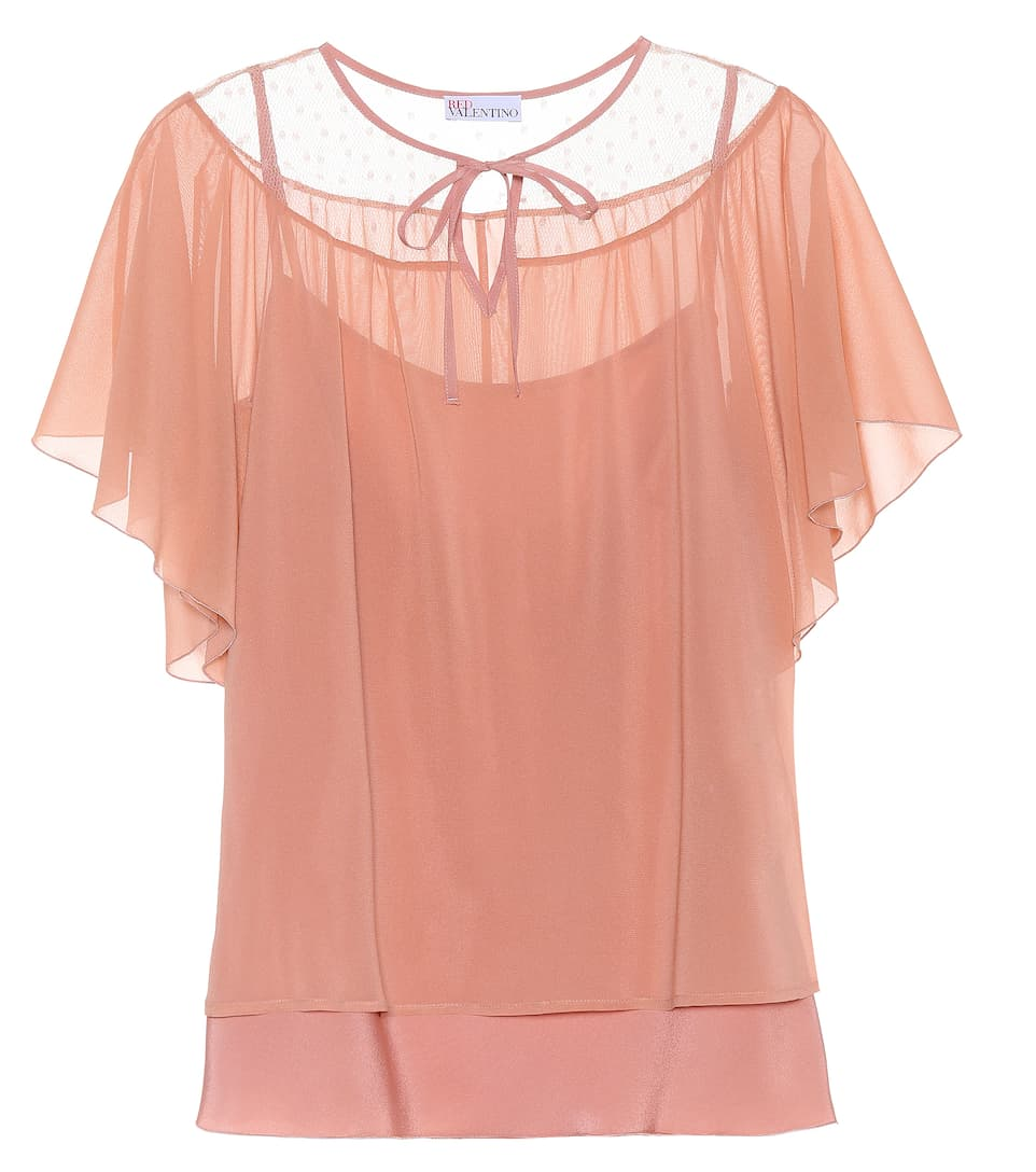 REDValentino Semi-transparentes Top aus Stretch-Seide