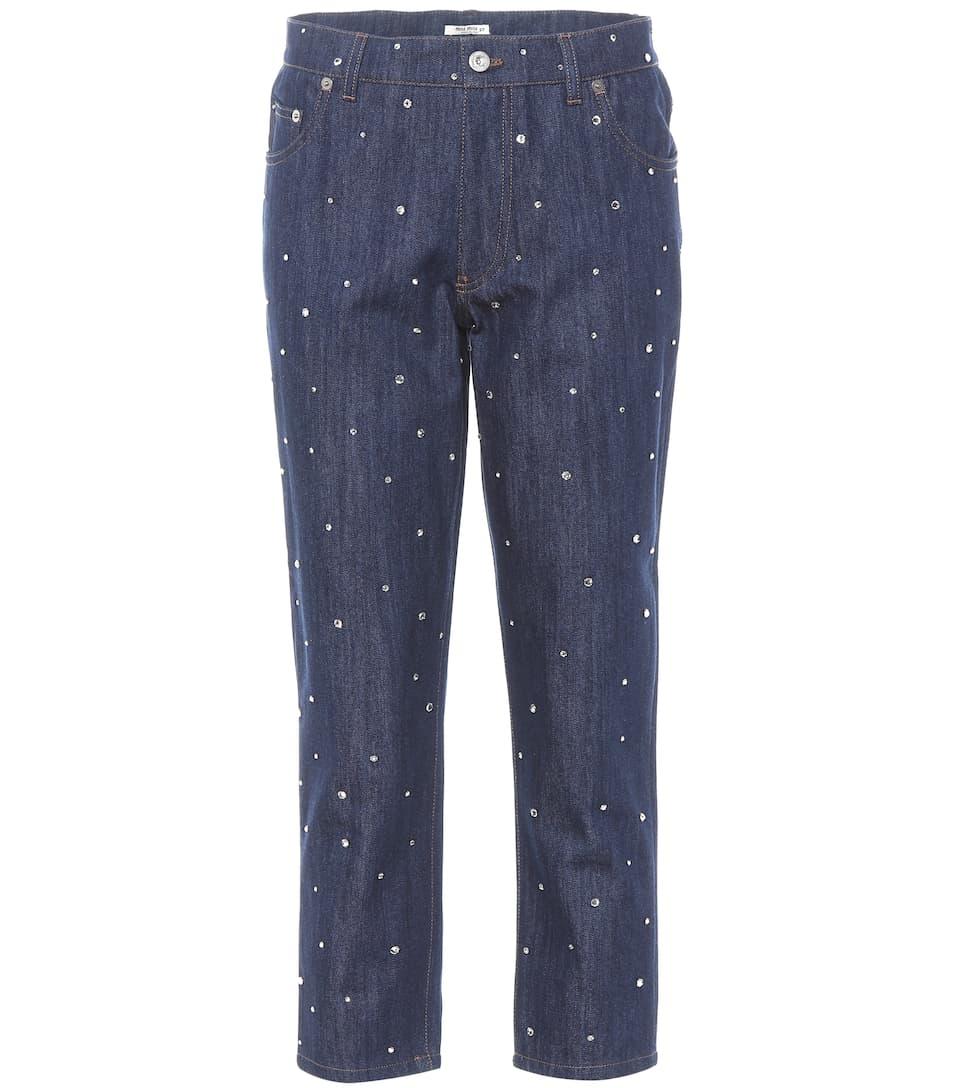 crystal-embellished cropped trousers - Blue Miu Miu ceLZn