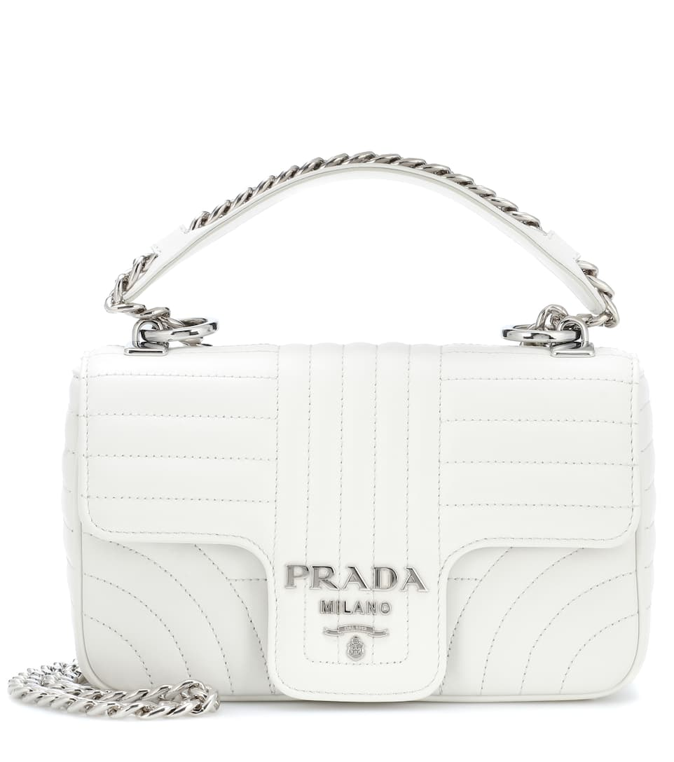 Prada Leather shoulder bag Bianco Cheap Real Finishline Cheap Sale Amazon Visit New Free Shipping Genuine Cheap Prices Authentic UA0Eymj