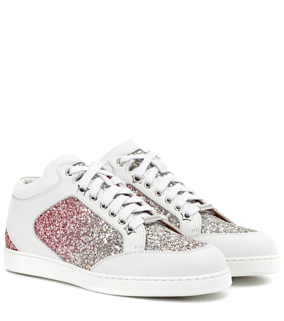 Jimmy Choo - Baskets en cuir et paillettes Miami