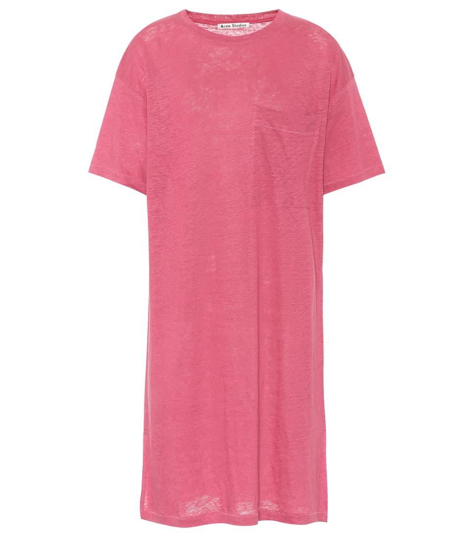 Saga Linen T-Shirt Dress in Pink