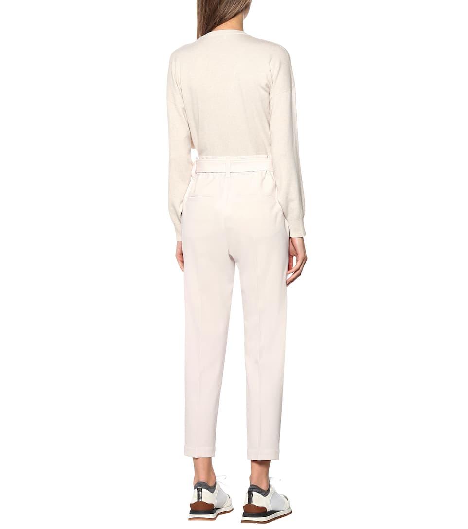 Brunello Cucinelli - High-rise straight wool-blend pants