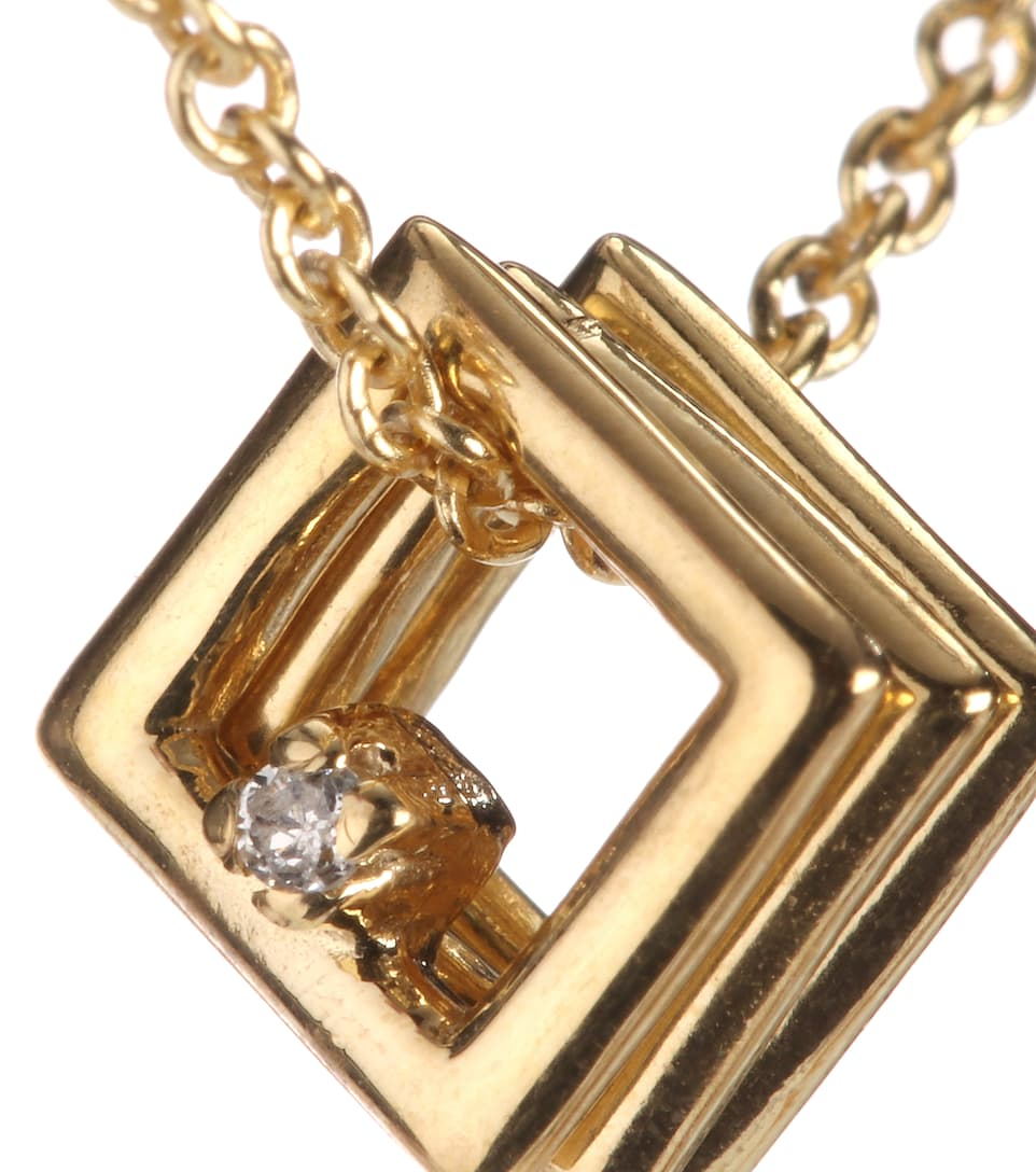 Mini Trio Cuadrados 9k yellow gold necklace with diamond pendant Aliita Jgc3iJy