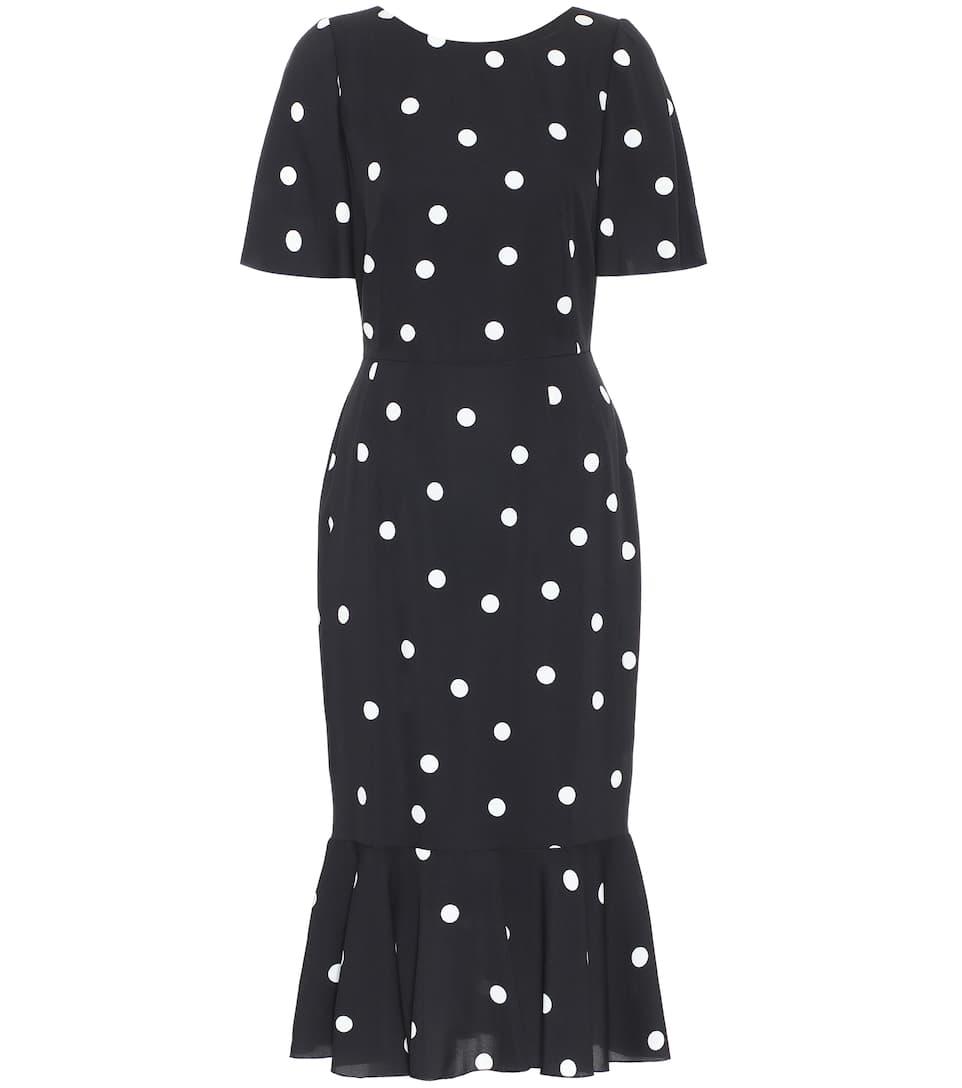 Polka-Dot Silk-Charmeuse Midi Dress - Dolce & Gabbana | Mytheresa