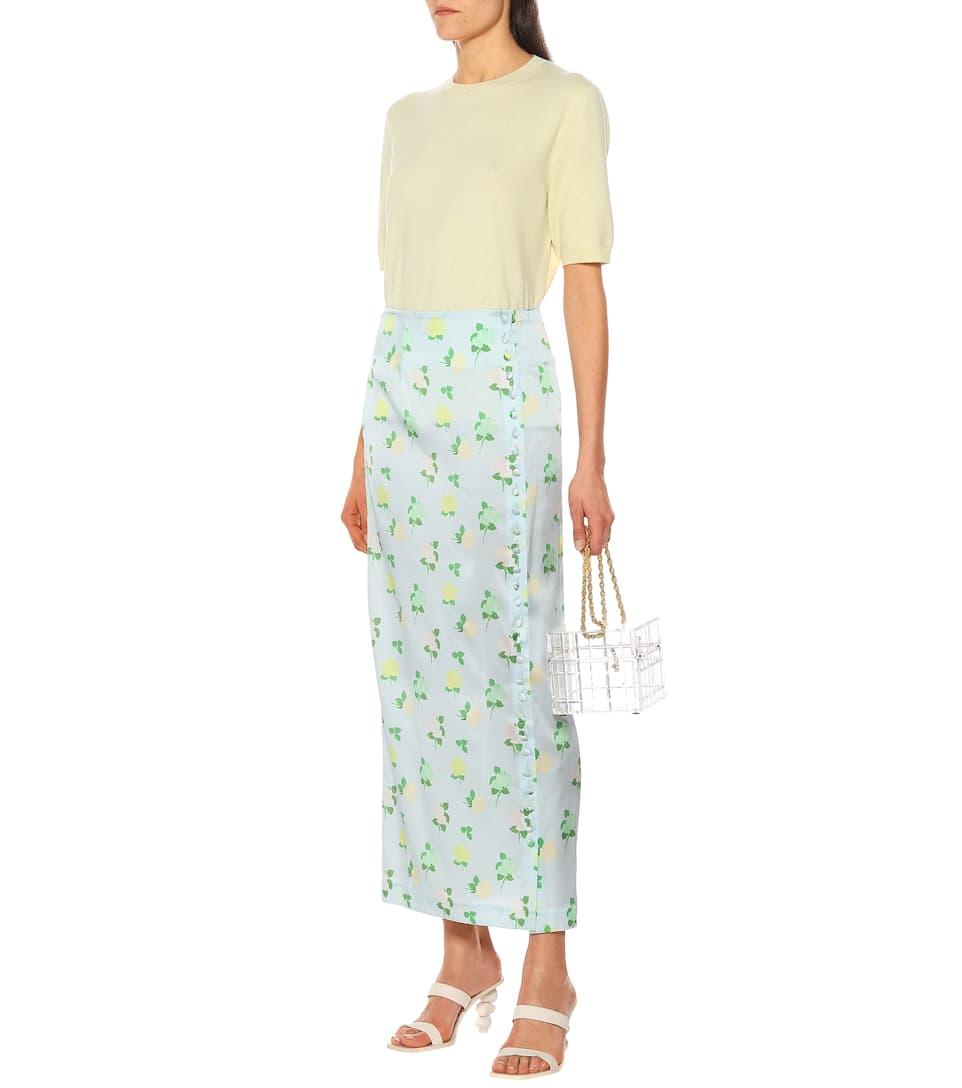 Bernadette - Kelly floral silk-satin midi skirt