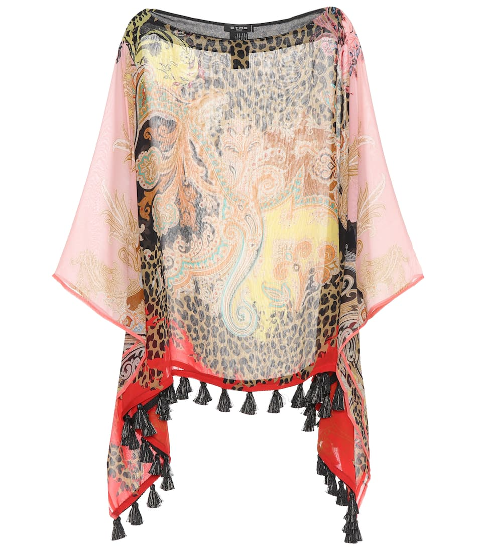 Etro Printed Poncho In Silk