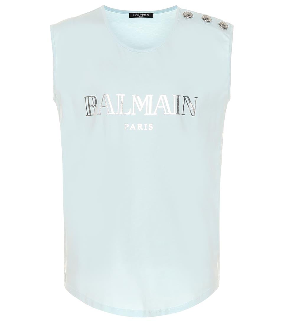 8b9852a9 Sleeveless Printed Cotton T-Shirt | Balmain - mytheresa