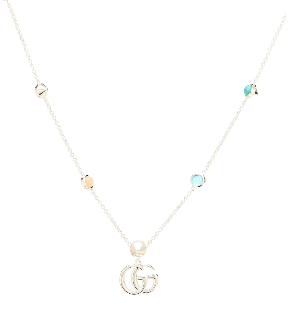 185d96c87 Gg Marmont Mother Of Pearl And Topaz Embellished Sterling Silver Necklace  by Gucci
