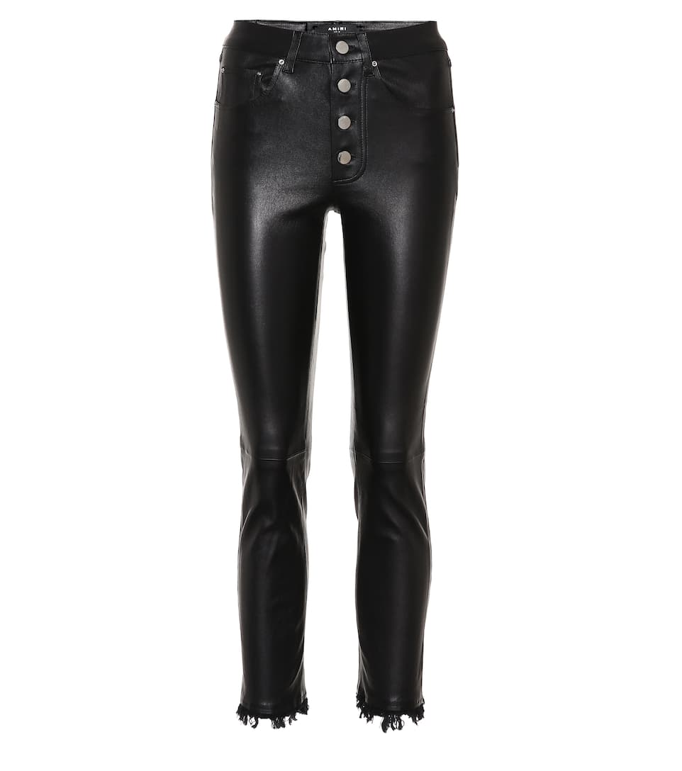 Straight Leg Leather Trousers by Amiri