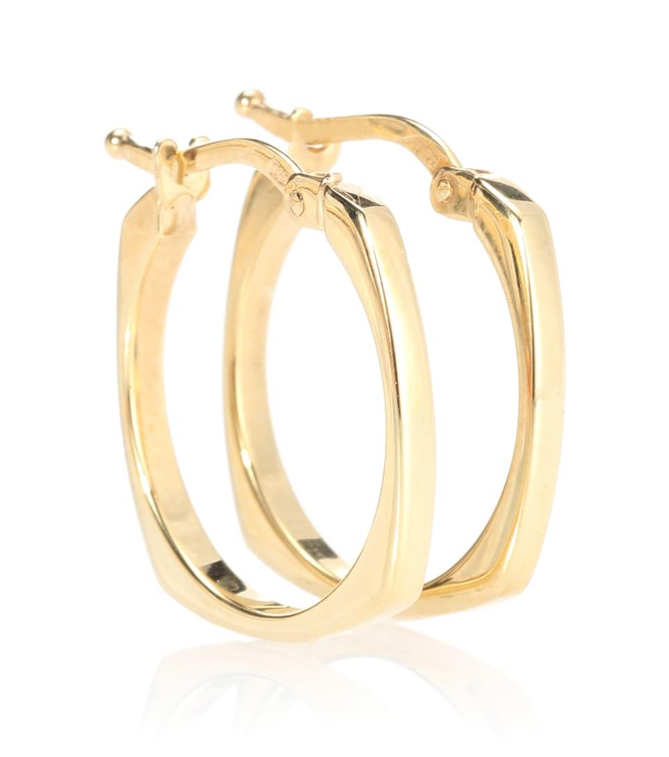 Aliita Aro B 9kt gold hoop earrings with diamond DGjZVHm