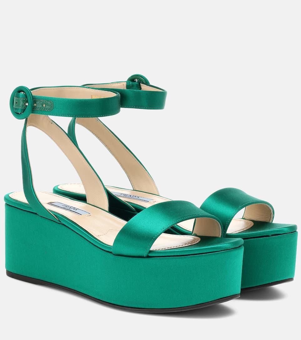 Satin Platform Sandals - Prada | mytheresa