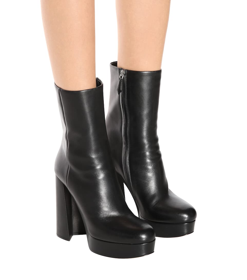 leather plateau ankle boots miu miu