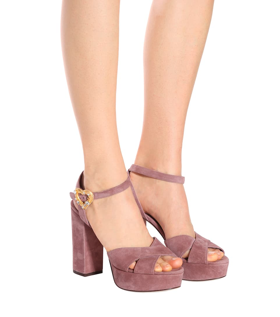 Exclusive to mytheresa.com - suede plateau sandals Dolce & Gabbana 4qeleI