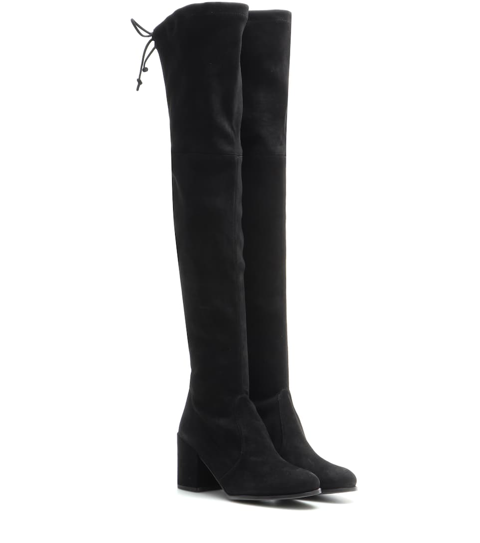 Tieland Suede Over-The-Knee Boots in Black