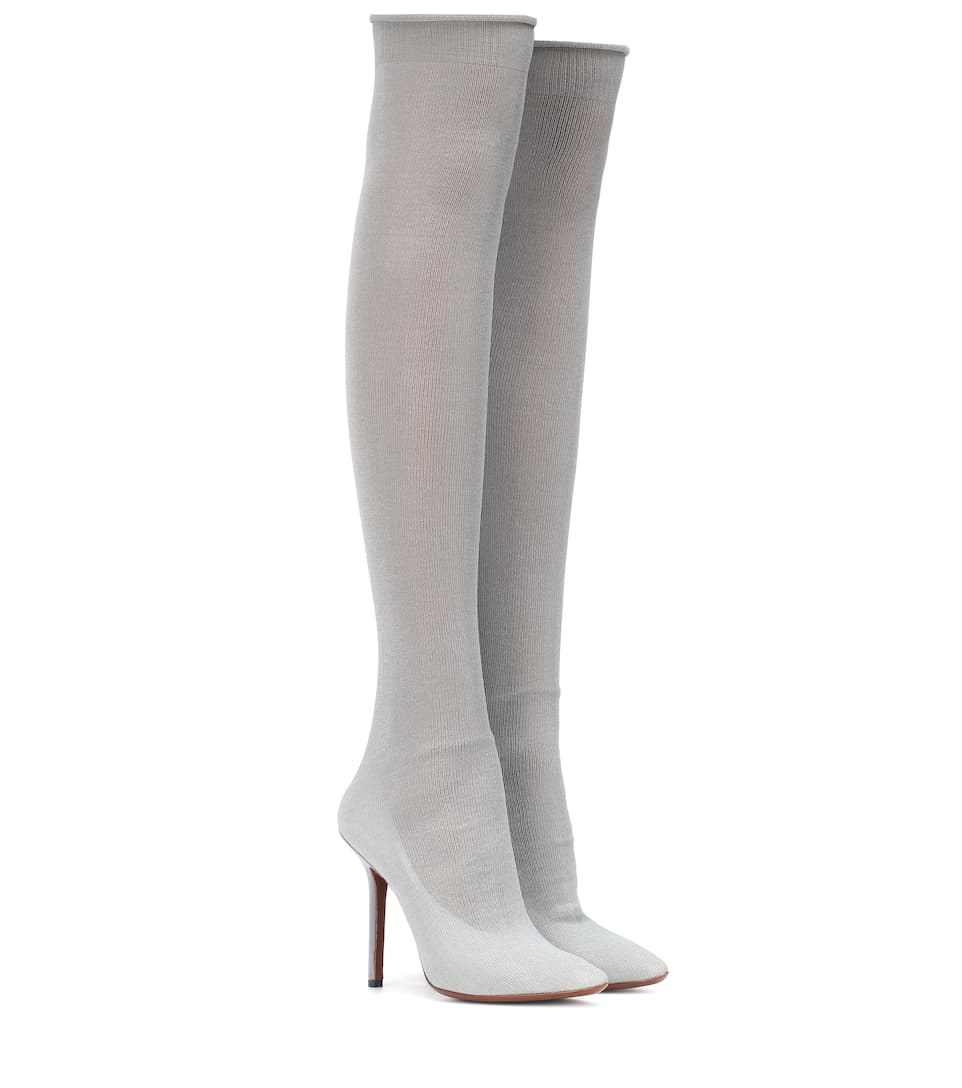 VETEMENTS Ribbed-Knit Over-The-Knee Sock Boots in Light Gray