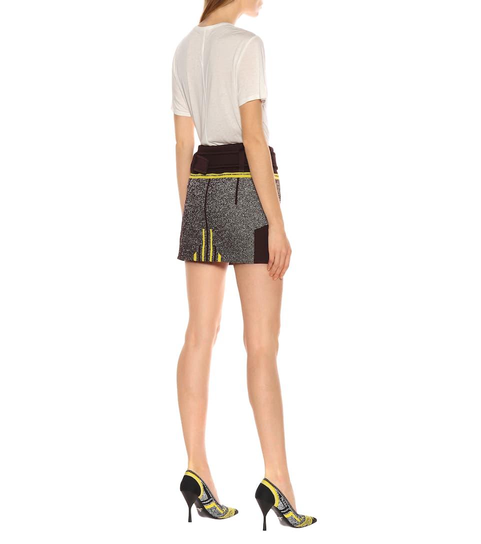 Haute Mini En Maille Prada Taille Stretch jupe À OXnN8Z0wPk