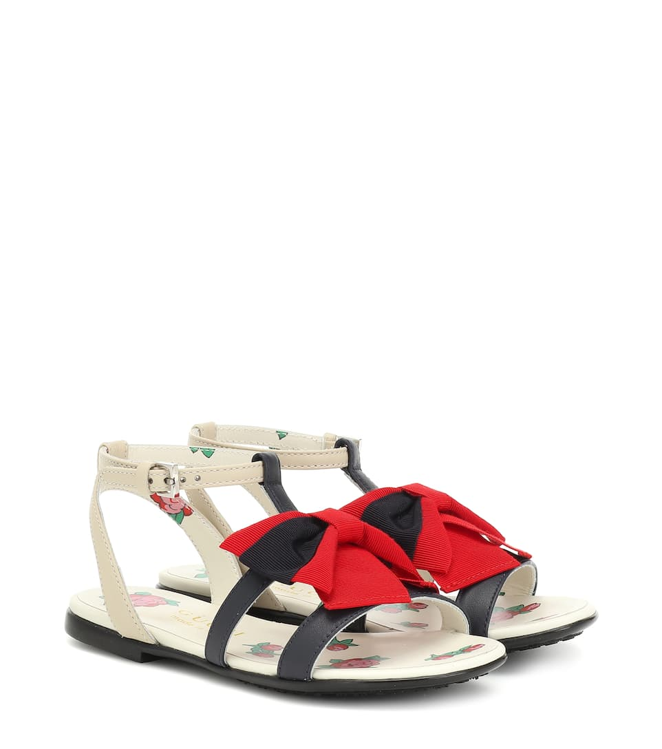Web Bow Leather Sandals - Gucci Kids