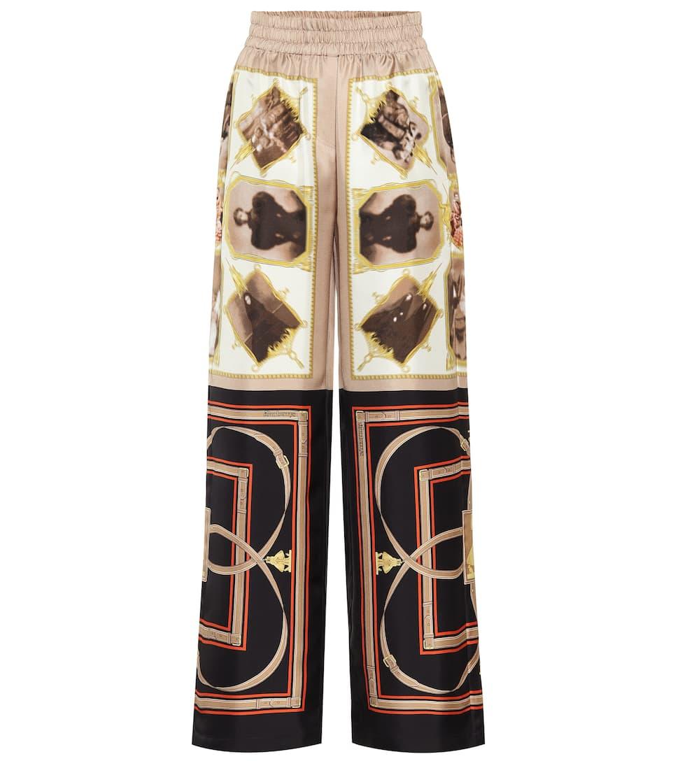Burberry Pantalones De Seda Estampados Mytheresa