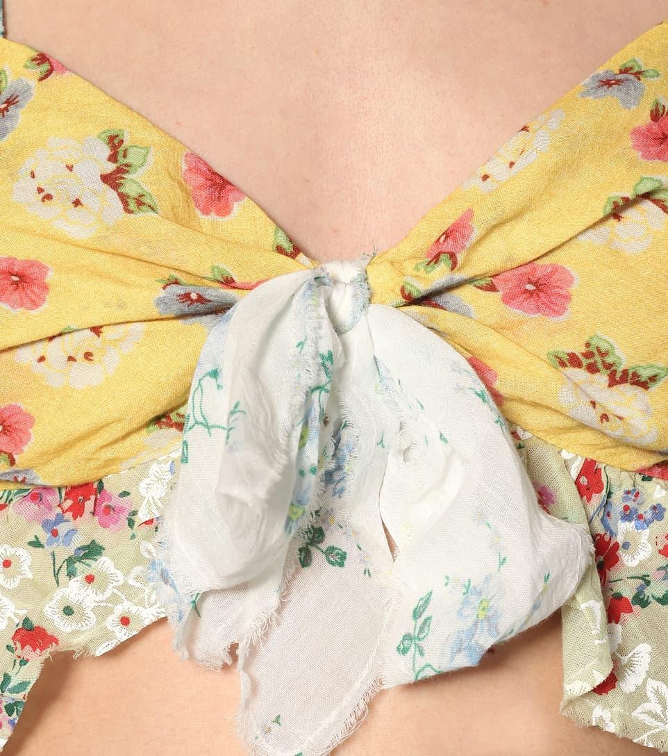 Soleil Floral Cotton Crop Top - LoveShackFancy
