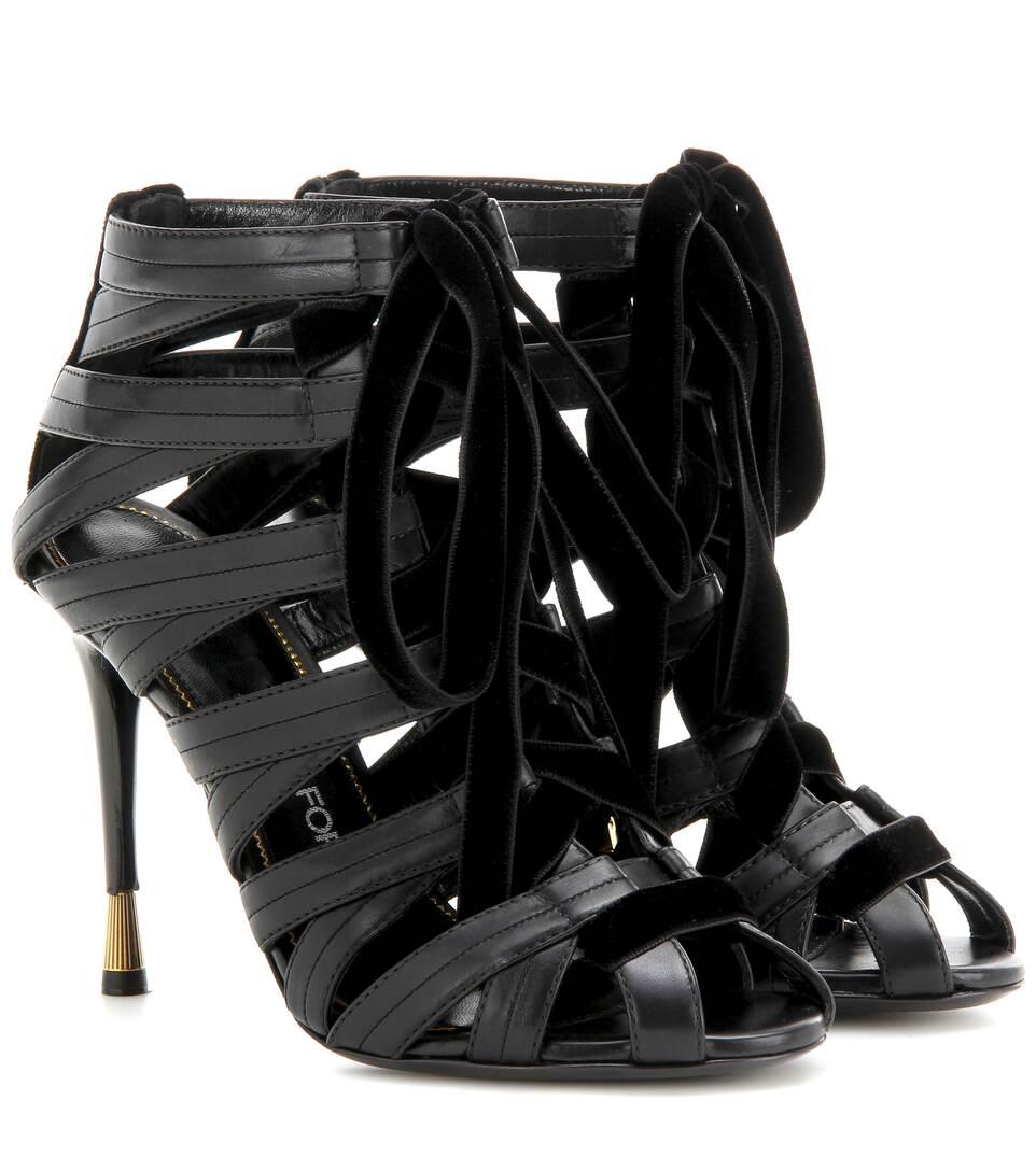 c4dccbd080a Tom Ford - Velvet-trimmed leather sandals