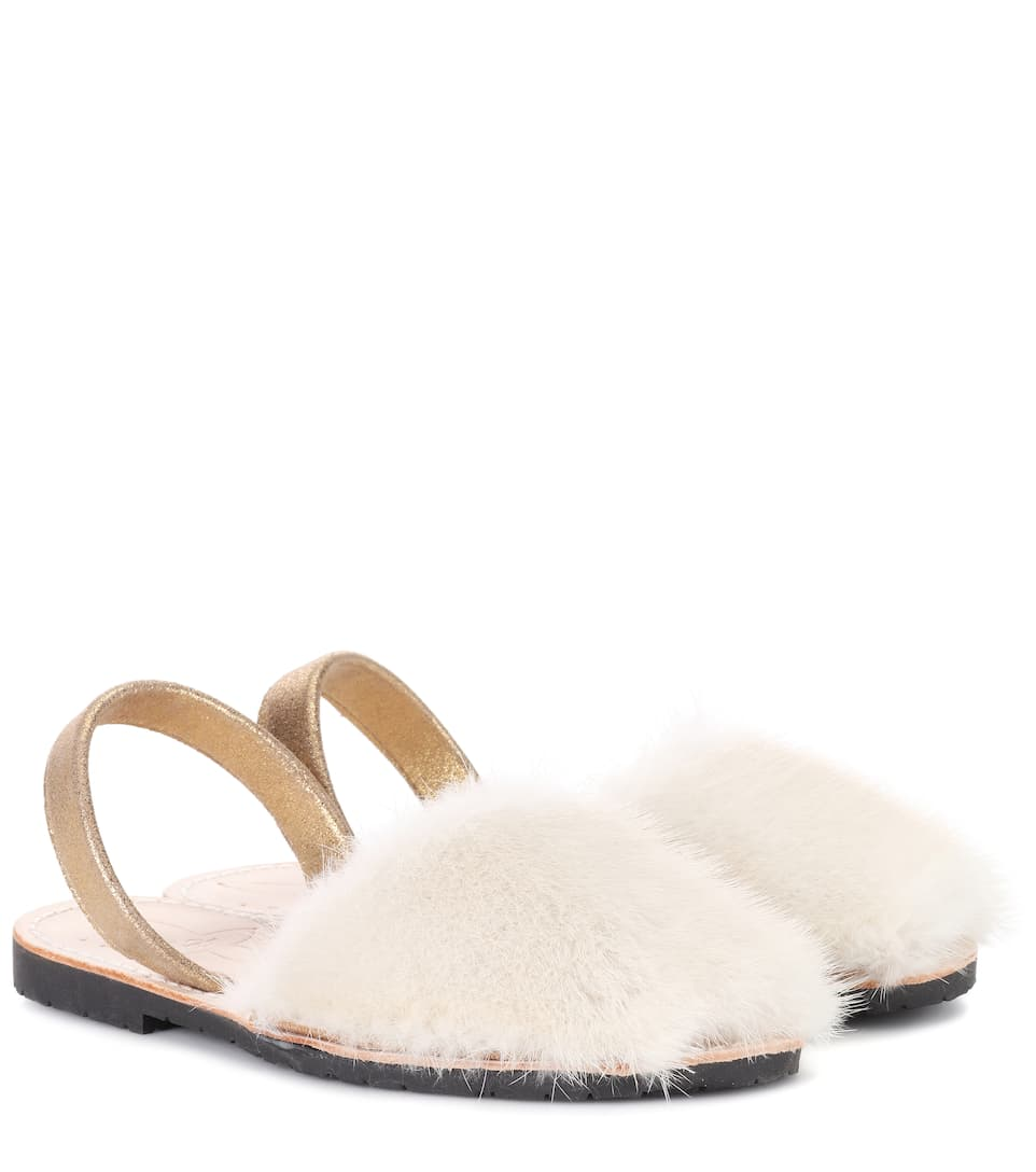 DEL RIO LONDON Exclusive To Mytheresa.Com - Classic Fur Sandals in White