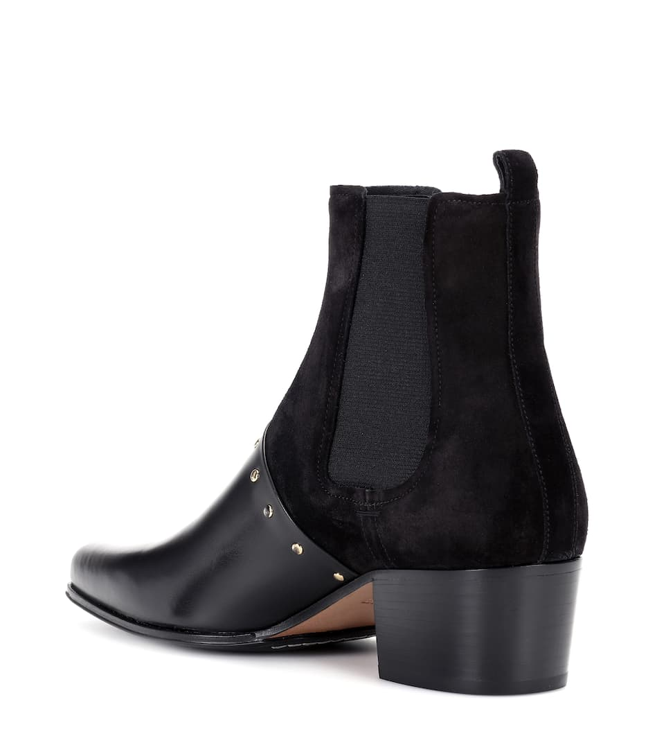 Balmain Ankle Boots Artemisia aus Leder und Veloursleder