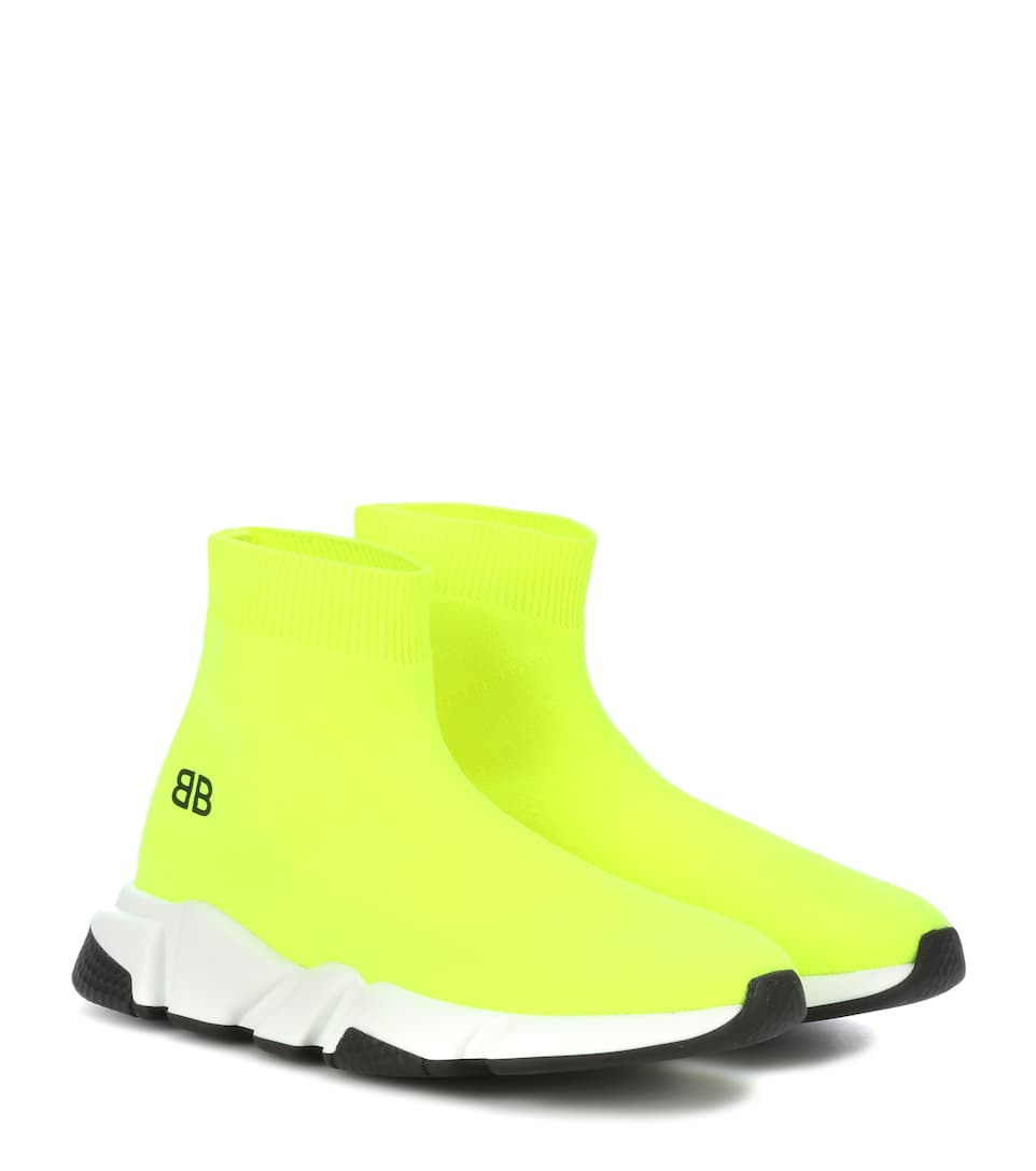 Speed Neon Stretch-Knit High-Top Sneakers, Yellow