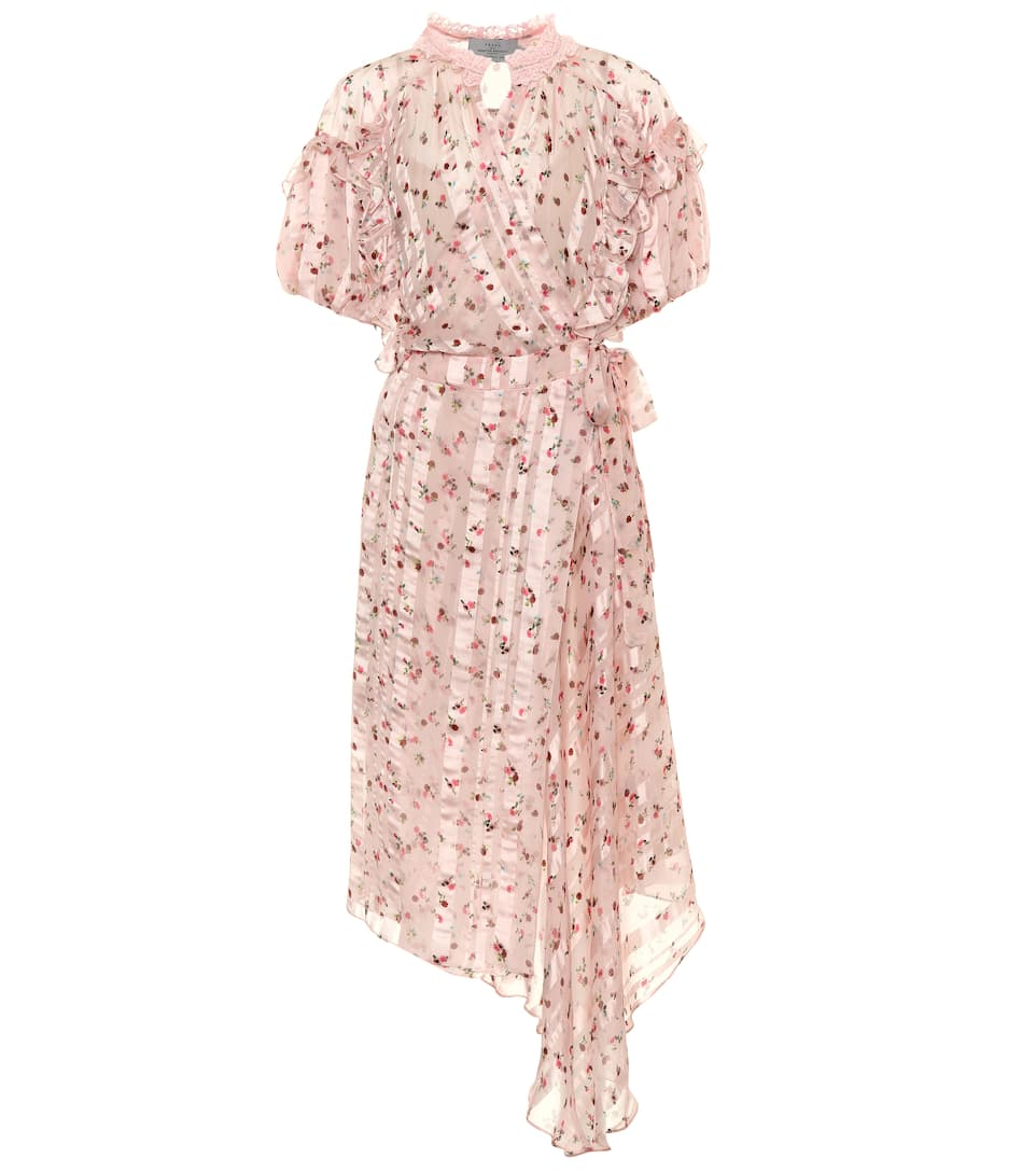 Floral Printed Striped Silk Dress by Preen By Thornton Bregazzi