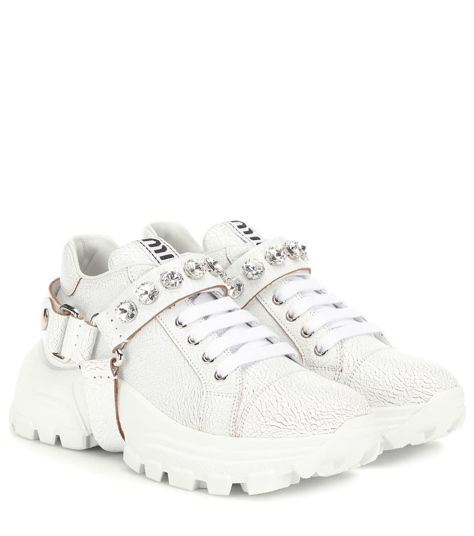 new york classic styles best service Embellished Leather Sneakers - Miu Miu | Mytheresa