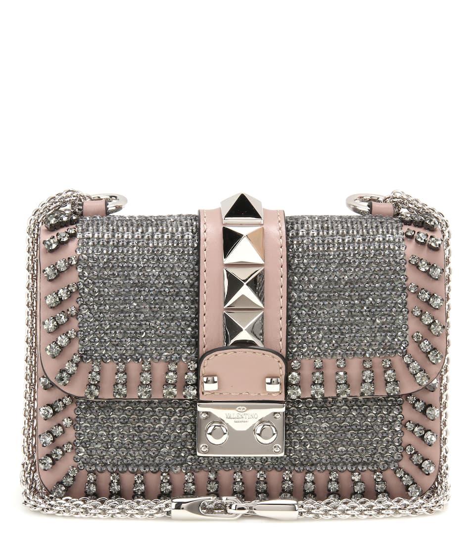 Valentino Lock Mini embellished leather shoulder bag