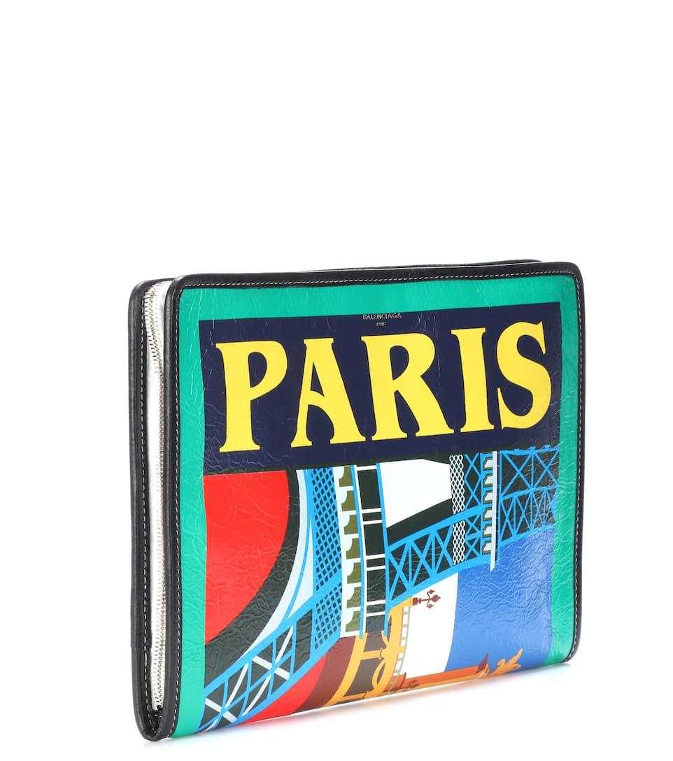 Niedriger Preis Zu Verkaufen Rabatt Limitierte Auflage Balenciaga Clutch Bazar Paris aus Leder cxrD4X4UY9