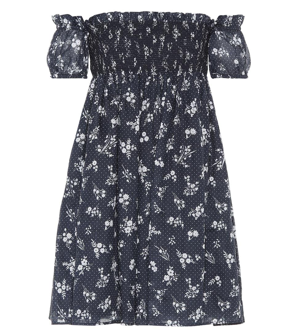 Printed Ramie Minidress in Blue
