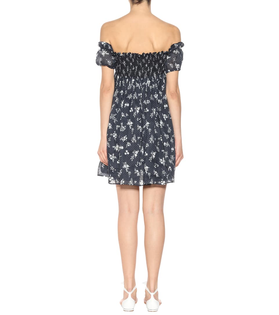 Clearance Low Price Clearance Official Miu Miu Printed ramie minidress Bleu Outlet Looking For 3N3AT