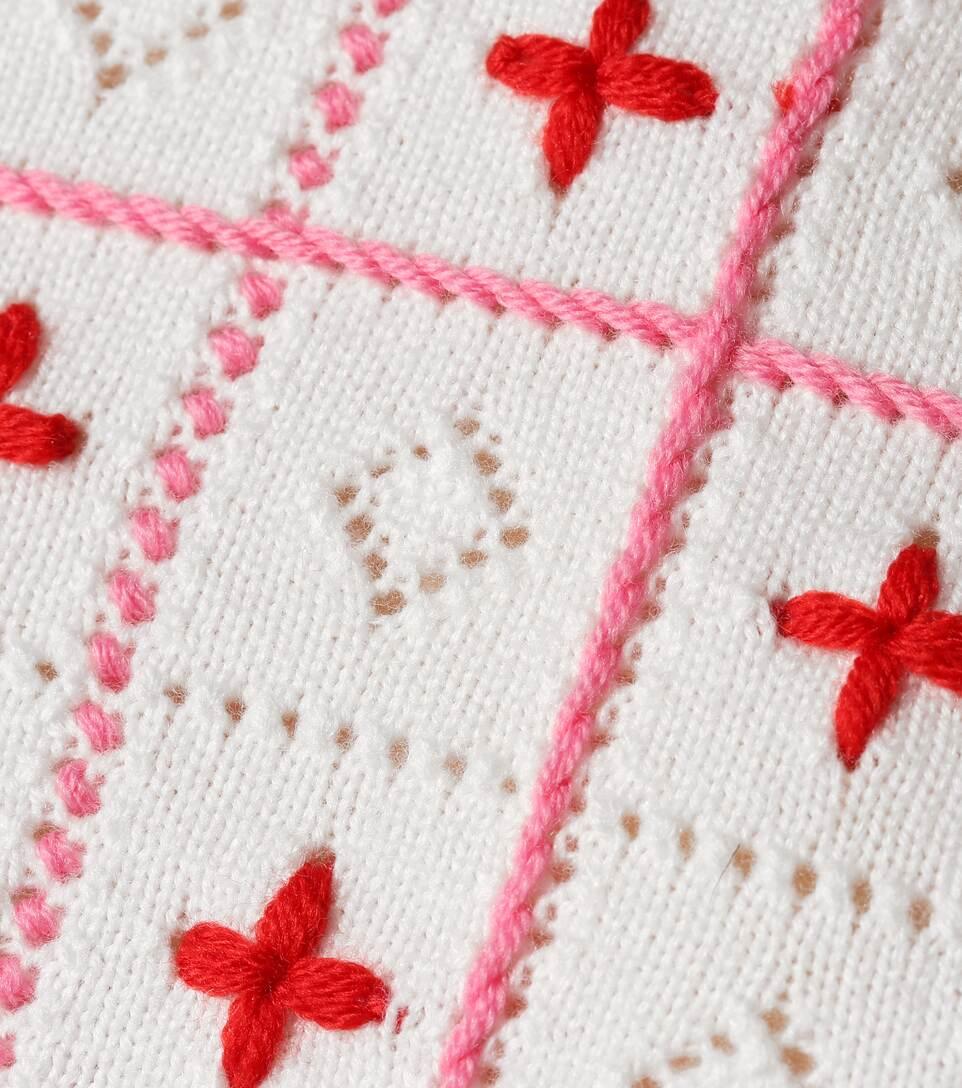 Blanco lana de Camarones Rosa bordado Suéter wIpE0qEU
