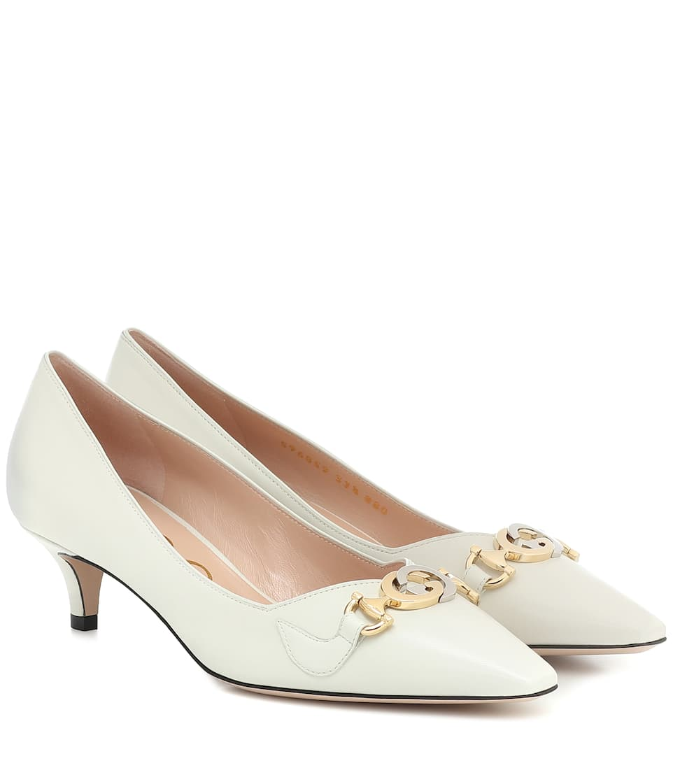 Gucci Women's Mid-heel Leather Pumps In