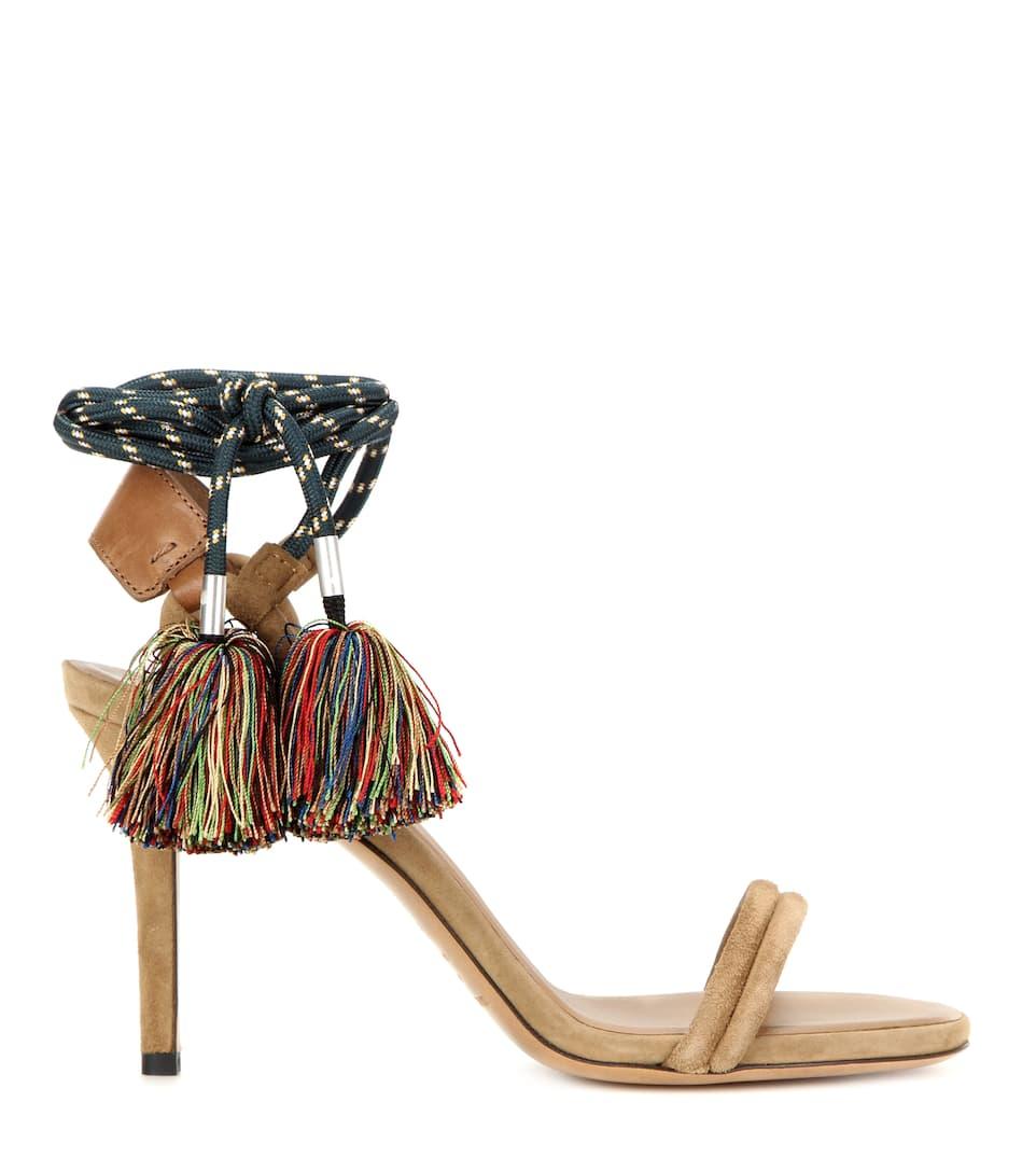 Sandales En Daim Pompons Aura Luxe Et Mode Pour Femme V Tements
