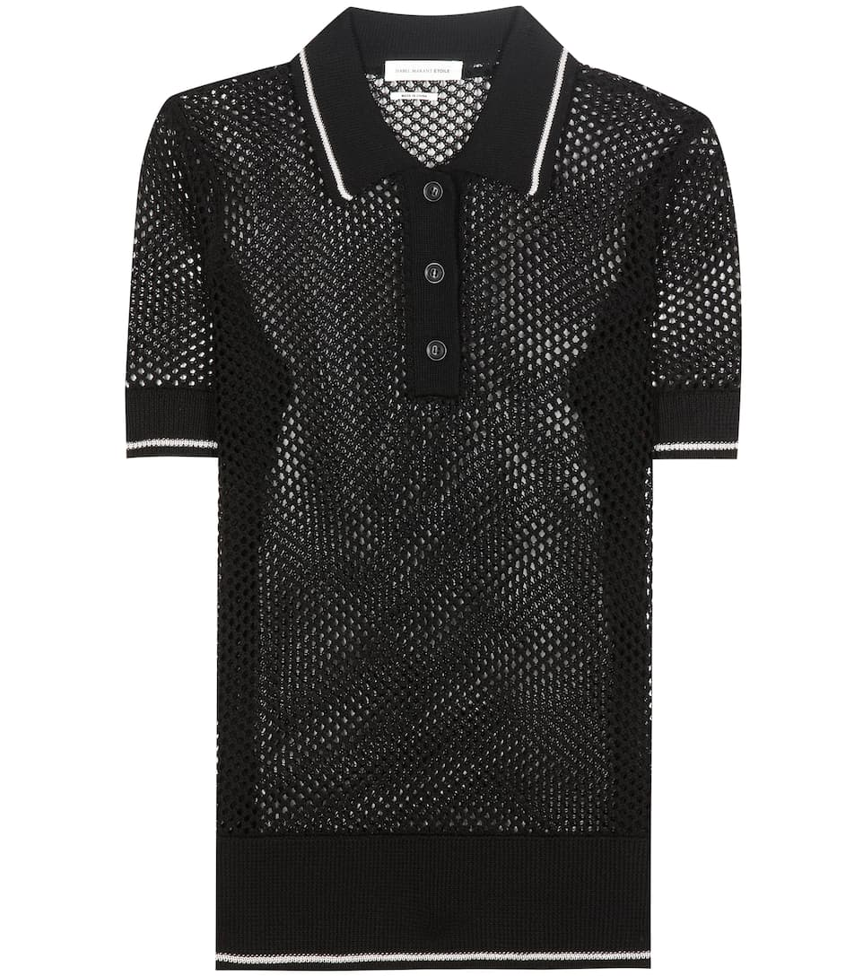 Drogo open-knitted polo shirt