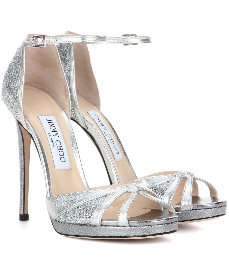 Jimmy Choo Talia 120 metallic leather and glitter sandals