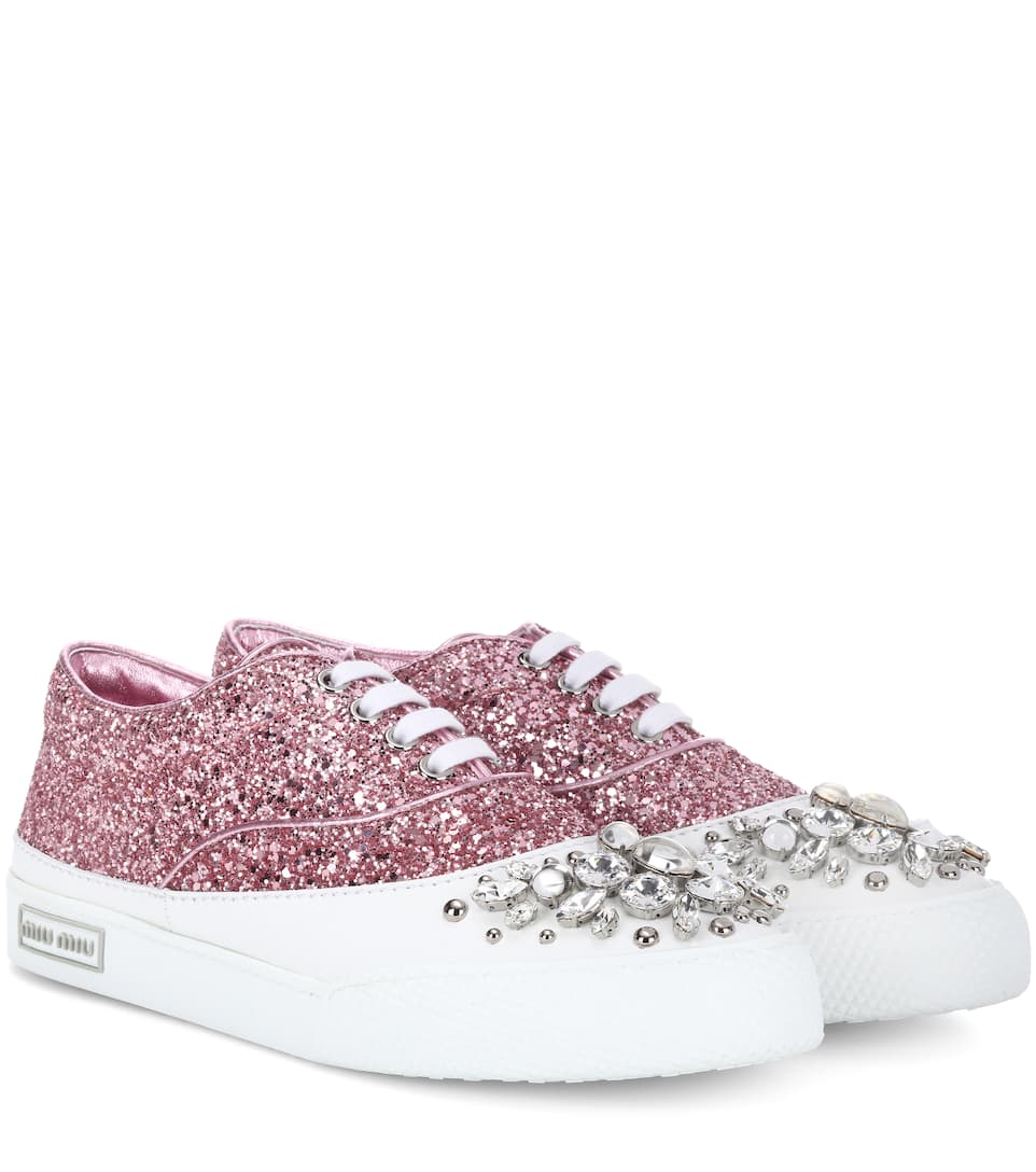 Exclusive to mytheresa.com - Embellished leather sneakers Miu Miu qqYsCYCb1h
